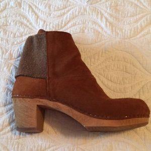 Sanita suede clog boots